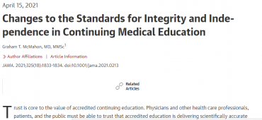 Changes to the Standards for Integrity and Independence in Continuing Medical Education