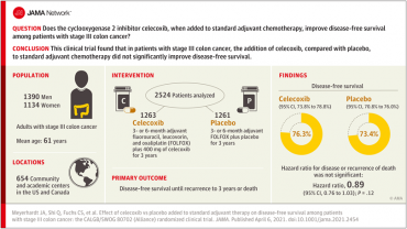 Effect of Celecoxib vs Placebo Added to Standard Adjuvant Therapy on Disease-Free Survival Among Patients With Stage III Colon Cancer